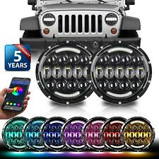 "2x 7"" LED Headlights DOT RGB DRL Hi-Lo Beam Bluetooth for Jeep Wrangler JK TJ LJ"