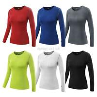 US Women Compression Long Sleeve Yoga Tight Tops Lady Gym Workout Shirt Tee Tops