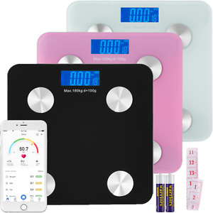 180KG Bathroom Bluetooth Glass Scales BMI Body Fat Monitor Weighing IOS, Android