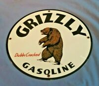 VINTAGE GRIZZLY BEAR GASOLINE DUBBS CRACKED GAS MOTOR OIL SERVICE STATION SIGN