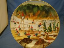 """Rien Poortvliet Secrets Of Gnomes Porcelain Collector Plate """"Gnomatic Fitness"""""""