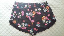 Sportsgirl Womens Black Floral Detailed Short Shorts (Size 14)