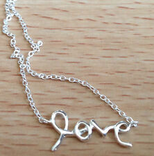 925 Sterling Silver Love Inline Charm Pendant Necklace