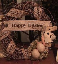 "Primitive Happy Easter Grapevine Wreath Burlap  Eggs Prim Bunny Rabbit 14"" New"