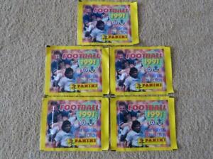 5 x Unopened Panini Football 91 1991 Sticker packs pack
