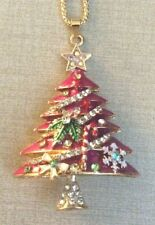Betsy Johnson Pink Christmas Tree Crystal Decorated Pendant on Gold Necklace!