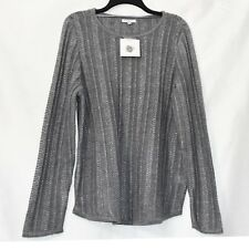 Croft & Barrow Pullover Knit Top Womens Size XL Gray Lurex Stretch Long Sleeve