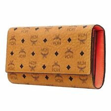 MCM Authentic Visetos Long Large Trifold Cognac Wallet Purse New MYL6SVC69CO