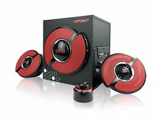 HIPOINT BLUETOOTH GAMING 2.1 STEREO SPEAKER SYSTEM BASS CONTROL for LAPTOP PCS