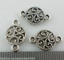 20pcs Tibetan Silver 2hole Filigree Chinese knot Connectors Bails Charms 10x16mm
