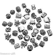100Pcs Mixed Silver Tone Beads Fit Charm Bracelets