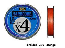DUEL X 4 HARDCORE FILO TRECCIATO  ORANGE 0,16 mm - 200 MT x SPINNING