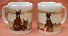 ENGLISH TOY TERRIER DOG MUG OFF TO THE DOG SHOW WATERCOLOUR PRINT SANDRA COEN