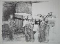 Druck Gemälde - am Flughafen - Flugzeug Pilot Logistik - Sammlerstück selten rar
