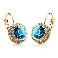Multi-color Crystal Gold Plated Ear Stud Rhinestone Hoop Earrings Ear Clip 2cm