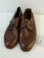 Botany 500 Mens Brown Leather Shoes Buckle Dress sz 12 M Casual A1