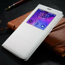 Window View Flip PU Leather Case Phone Cover For Samsung Galaxy Note 4 Cases