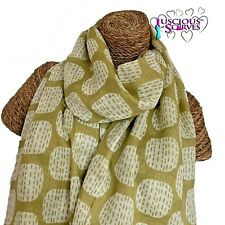 MUSTARD LIME GREEN SCARF WITH SOFT SQUARES DESIGN LADIES SUPERB SOFT QUALITY