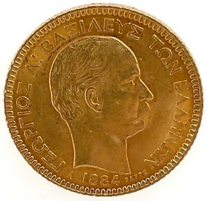 1884A GREECE King GEORGE I Antique Gold 20 Drachmai Coin. KM# 56