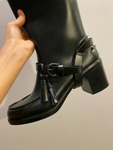 Salvatore Ferragamo Knee High Heeled Rain Rubber Boots Authentic Size US7
