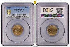 Hong Kong 10 cents 1980 PCGS MS 67 - Keydate Finest Grade