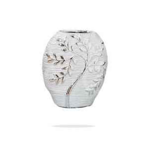 Hestia Silver Electroplate Tree Oval Ceramic Vase Decorative Ornaments Stoneware