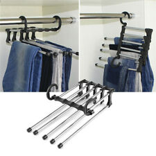5 in1 Adjustable Closet Organizer Trousers Pants Hanger Rack Hook Tie Belt Scarf