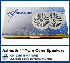 Azimuth 2 x 4 Inch Twin Cone Outdoor Waterproof Marine Speakers 50W Boat Audio