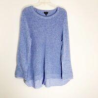 Talbots Blue White Knit Crew Neck Pullover Checkered Hem Sweater Womens Plus 2X