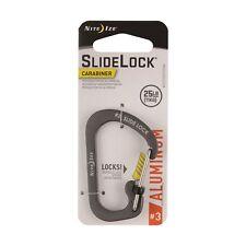 Nite Ize SlideLock Carabiner #3 Aluminum Charcoal Locking Biner 25lb-Rated