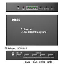 EZCAP 4-In-1 HDMI HD Video Capture USB3.0 to PC Multi Camera Record Live Stream