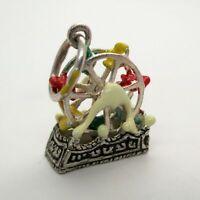 Sterling Silver FERRIS WHEEL Charm for Bracelet PENDANT Hand-enameled CUTE!