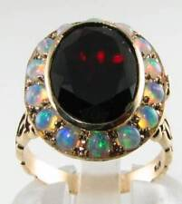 BIG 9K 9CT GOLD 14mm x 10mm MADAGASCAN GARNET OPAL LOCKET ART DECO INS RING