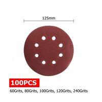 100pcs 125mm 5'' Sanding Sandpaper Discs 60-240 Mix Grit 8 Holes Orbital Sander