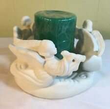 Winged Angel Candle Holder Ceramic - Heavenly Host - With Green Candle - New!