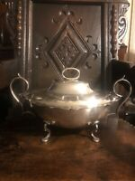 antique sheffield silver plate Queen Anne Covered soup tureen Birmingham 1898 Uk