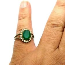 Art deco Emerald Ladies Ring, Silver Plated Brass Mix CZ Turkish Style Ring