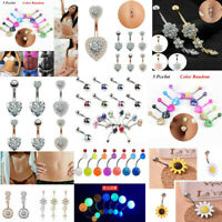 Fashion Navel Belly Button Rings Surgical Steel Zircon Body Piercing Jewelry