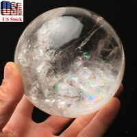 RARE NATURAL RAINBOW CLEAR QUARTZ CRYSTAL SPHERE BALL HEALING GEMSTONE 20mm