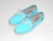 Eastland Aqua Teal Patent Leather Women's Boat Deck Casual Oxford Slip On  6.5M