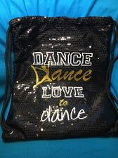 New Claire's Dance Love To Dance Sparkly Sequin Black Bag Backpack With Tags