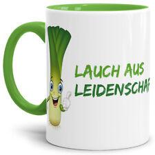 """Lauch-Tasse """"Lauch aus Leidenschaft"""" Hellgrün / Lauch / Fun / Lustig / Spruch"""