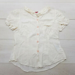 WHISTLES Buttoned Shirt Top Size 12 Pale Yellow Ruffle Short Cap Sleeve Summer