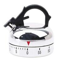 Minuteur de cuisine en acier inoxydable de 1 à 60 minutes forme bouilloire