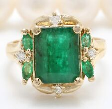 4.20 Ct Natural Zambian Emerald and Diamonds in 14K Solid Yellow Gold Women Ring