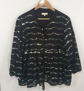 Ruby Yaya Black Sequin Tie Front Blouse Sz XL