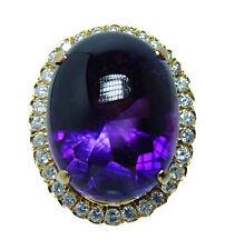 Giant Vintage 15ct Amethyst 1.5ct Diamond Ring 18K Gold HEAVY Estate Jewelry