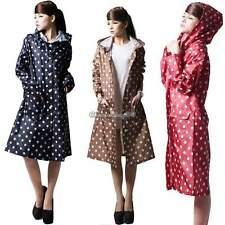 WOMENS LADIES POLKA DOT SPOTTED WATERPROOF RAIN COAT JACKET PONCHO HOODED C1MY