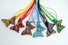 Wholesale Lots Jewelry 6Ps Butterfly Murano Glass Pendant Silk Necklace FREE
