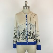 J.Crew Women's Ski Lift Cardigan Size S Merino Wool RARE Novelty Winter Sweater